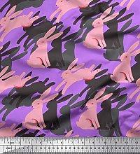 Soimoi Purple Cotton Jersey Fabric Bunny Rabbit