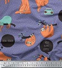 Soimoi Purple Cotton Poplin Fabric Text & Sloth