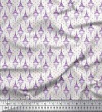 Soimoi Purple Crepe Silk Fabric Arrow,Heart &