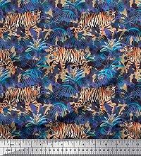 Soimoi Rayon Fabric texture,leaves & tiger Animal