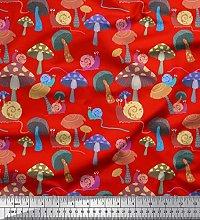 Soimoi Red Cotton Duck Fabric Colorful Snail &