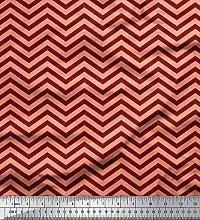Soimoi Red Heavy Canvas Fabric Chevron Geometric
