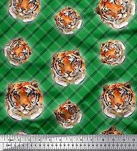Soimoi Satin Silk Fabric Check & Tiger Face Animal