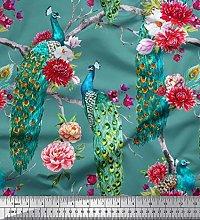 Soimoi Satin Silk Fabric Floral & Peacock Bird