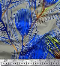 Soimoi Satin Silk Fabric Peacock Feather Printed
