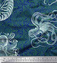 Soimoi Silk Fabric Animal Skin,Shell & Octopus