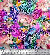 Soimoi Silk Fabric Animal Skin & Tropical Flower