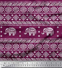 Soimoi Silk Fabric Aztec & Tribal Elephant Animal