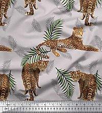 Soimoi Silk Fabric Leaves & Leopard Animal Decor