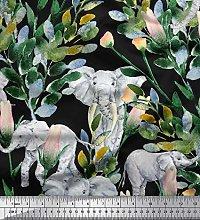 Soimoi Velvet Fabric Leaves,Floral & Elephant