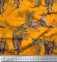 Soimoi Velvet Fabric Leaves & Leopard Animal Print