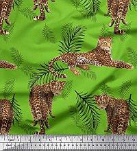 Soimoi Velvet Fabric Leaves & Leopard Animal