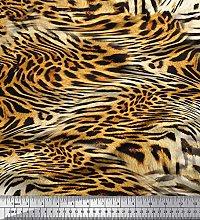 Soimoi Velvet Fabric Leopard & Tiger Animal Skin