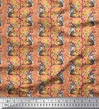 Soimoi Viscose Chiffon Fabric Leaves,Floral &
