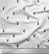 Soimoi White Cotton Poplin Fabric Dots & Reindeer