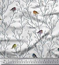 Soimoi White Heavy Satin Fabric Branch &