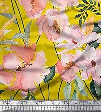 Soimoi Yellow Satin Silk Fabric Leaves & Magnolia
