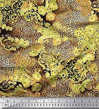 Soimoi Yellow Velvet Fabric Floral & Leopard