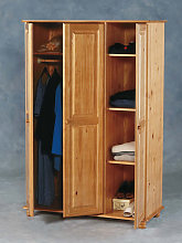 Sol Wardrobe In Antique Pine Finish With 3 Doors
