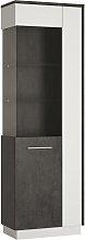 Solan 1 Door Left Hand Display Cabinet - Grey &
