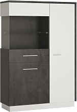 Solan 2 Door Left Hand Display Cabinet - Grey &