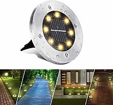 Solar Ground Lights Outdoor, BrizLabs 8 LEDs Solar