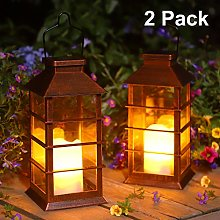 Mobestech Solar Light Outdoor Waterproof Stainless Steel Hanging Lamp Iron Cage Solar Lantern with Light Bulb for Garden Pathway Patio Lighting