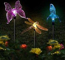 Solar Lights Outdoor Garden,3 Packs LED Stake