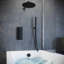 Solar Matt Black Concealed Bath Filler Shower Pack