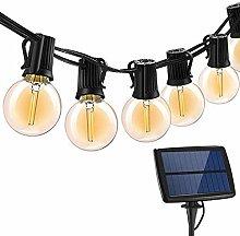 Solar Outdoor Bulb String Lights, 18FT 10LED E12