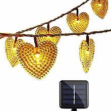 Solar Powered Heart Shaped String Lights, KEEDA 30