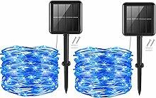 Solar String Lights,2Pack 50LEDs Blue Garden Solar