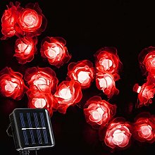 Solar String Lights, KEEDA 20 LED Rose Flower