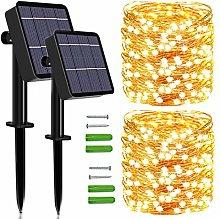 Solar String Lights Outdoor, 2 Pack 120 LED Solar