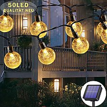 Solar String Lights Outdoor Waterproof, 50LED 23ft