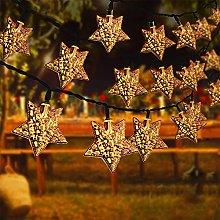 Solar String Outdoor Garden Lights Silver Moroccan