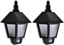 Solar Wall Lamp with Motion Sensor 2 pcs - Black