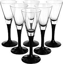 SOLAVIA Black Stem Liqueur Sherry Shot Glass 50ml,