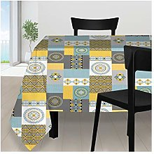 Soleil d'ocre Karo Tablecloth, Polyester,