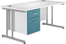 Solero C-Leg Single Pedestal Desk (Light Blue),