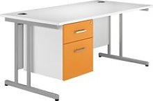 Solero C-Leg Single Pedestal Desk (Orange),