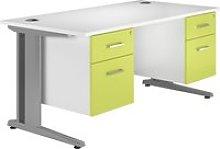 Solero Deluxe C-Leg Double Pedestal Desk (Green),