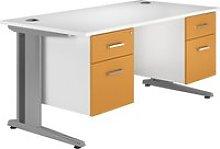 Solero Deluxe C-Leg Double Pedestal Desk (Orange),