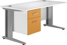 Solero Deluxe C-Leg Single Pedestal Desk (Orange),