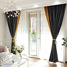Solid Color Splicing Blackout Curtains Eyelets