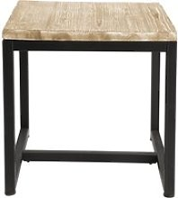 Solid Fir and Metal Industrial Side Table in