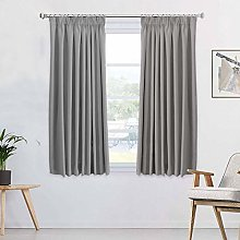 Solid Grey Blackout Curtains Thermal Insulated