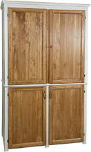Solid linden wood cupboard with antiqued white