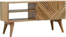Solid Mango Wood 2 Drawer Line Carved TV Cabinet