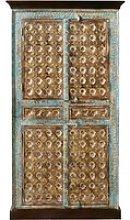Solid Mango Wood and Metal 2-Door Wardrobe Chenoa